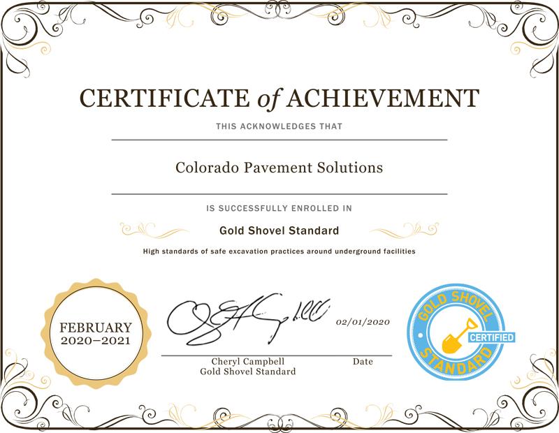 Gold Shovel Standard Certificate